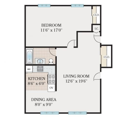 Deluxe 1 Bedroom. 670 sq. ft.