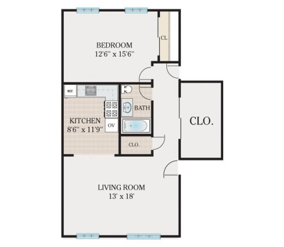 Junior 1 Bedroom. 620 sq. ft.