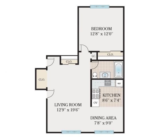 Standard 1 Bedroom. 650 sq. ft.