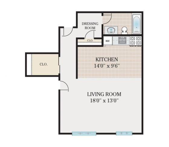 Standard Studio. 460 sq. ft.